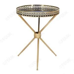 Tegmine Black Round Mirrored Side Table In Gold