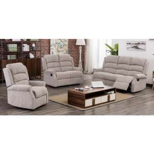 Tegmine Fabric 3 Seater Sofa And 2 Armchairs Suite In Natural
