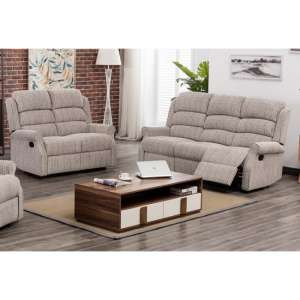 Tegmine Fabric 3 Seater Sofa And 2 Seater Sofa Suite In Natural