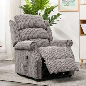 Tegmine Fabric Electric Lift And Tilt Recliner Armchair In Latte