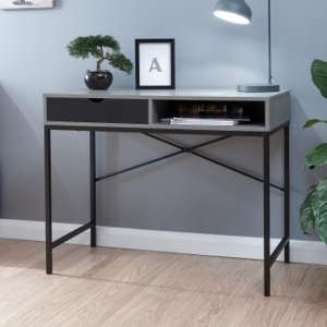 Telfore Wooden Computer Desk In Concrete And Black Drawer