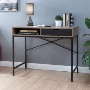 Telfore Wooden Computer Desk In Dark Oak And Black Drawer