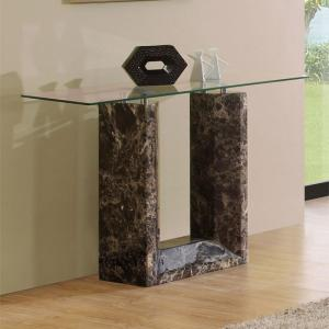 Tempo Glass Top Marble Console Table