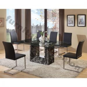 Tempo Glass Top Marble Dining Table And 6 Tempo Chairs