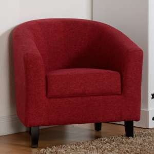 Tempo Fabric Upholstered Tub Chair In Red