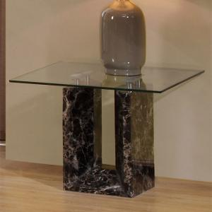 Tempo Glass Top Marble Lamp Table