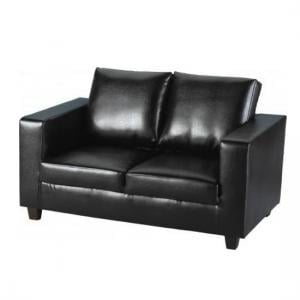 Tempo 2 Seater Sofa In A Box Made of Black Faux Leather