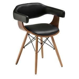 Tenova Black Faux Leather Bedroom Chair With Beech Wooden Legs