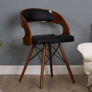 Tenova Black Faux Leather Bedroom Chair With Walnut Wooden Legs