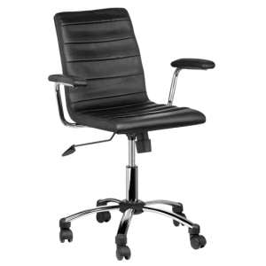 Tenova Black Faux Leather Home And Office Chair With Arms