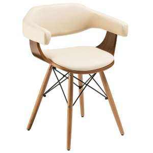 Tenova Cream Faux Leather Bedroom Chair With Beech Wooden Legs