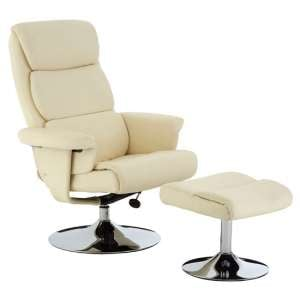 Tenova Faux Leather Recliner Chair With Footstool In White