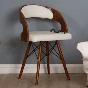 Tenova White Faux Leather Bedroom Chair With Walnut Wooden Legs