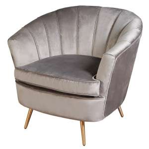 Terrie Fabric Sofa Chair In Grey With Brass Legs