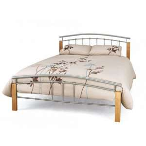 Tertas Metal King Size Bed In Silver With Beech Posts