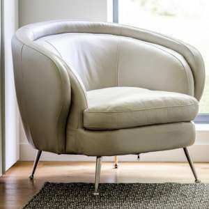 Tesoro Faux Leather Tub Chair In Cream