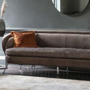 Tesoro Velvet 3 Seater Sofa In Dark Taupe