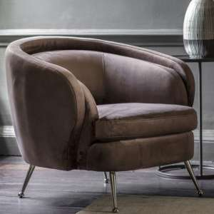 Tesoro Velvet Bedroom Tub Chair In Dark Taupe