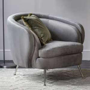 Tesoro Velvet Upholstered Tub Chair In Grey