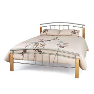 Tetras Metal Small Double Bed In Silver With Beech Posts