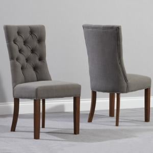 Tetras Fabric Dining Chair In Grey And Dark Oak In A Pair