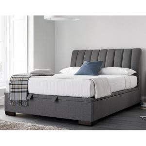 Texas Fabric Ottoman Storage King Size Bed In Grey