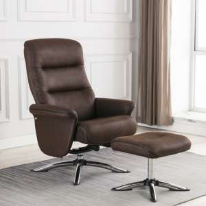 Texopy Faux Leather Swivel Recliner Chair With Stool In Brown