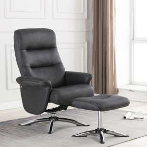 Texopy Faux Leather Swivel Recliner Chair With Stool In Slate