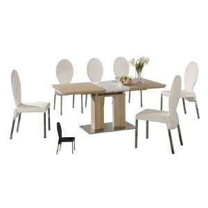 Theo Wooden Extending Dining Table With 6 PU Chrome Chairs