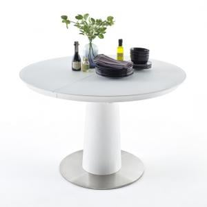 Theron Extendable Glass Dining Table Round In Matt White