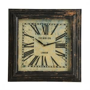 Thomas Square Wall Clock In Distressed Black Metal