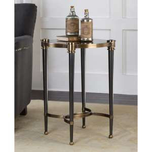 Thora Smoked Glass Side Table With Brushed Black Tapered Legs