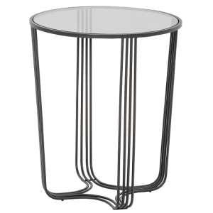 Thurston Glass Side Table Large In Clear With Metal Frame