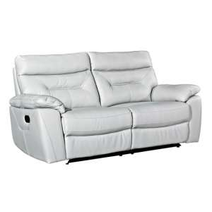 Tiana Contemporary Recliner 3 Seater Sofa In Putty Faux Leather