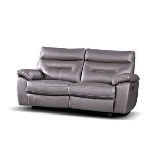 Tiana Contemporary Recliner 3 Seater Sofa In Grey Faux Leather