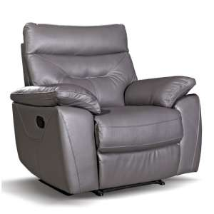 Tiana Contemporary Recliner Armchair In Grey Faux Leather