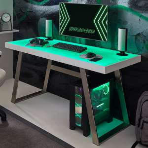 Tiflis Glass Top Computer Desk In Matt White With LED Lighting