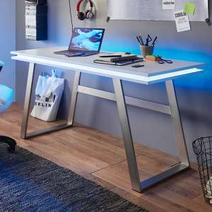 Tiflis Wooden Computer Desk In Matt White With LED Lighting