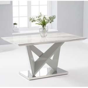 Timon High Gloss Marble Effect Dining Table In Light Grey