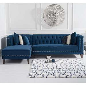 Tislit Velvet Left Facing Chaise Corner Sofa In Blue