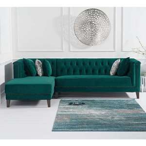 Tislit Velvet Left Facing Chaise Corner Sofa In Green