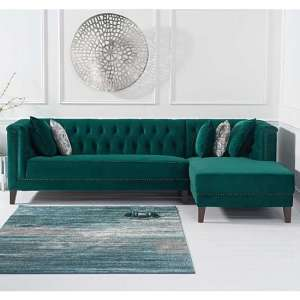 Tislit Velvet Right Facing Chaise Corner Sofa In Green