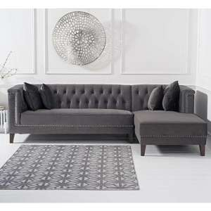 Tislit Velvet Right Facing Chaise Corner Sofa In Grey