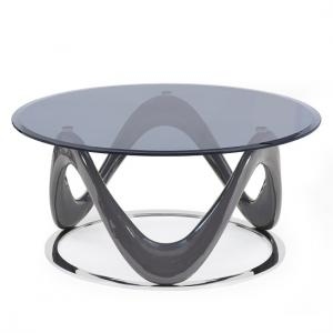 titan glass coffee table in grey high gloss with chrome ring
