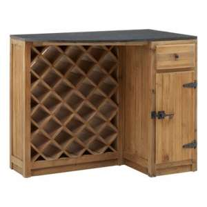 Tobik Wooden Bar Storage Cabinet With Wine Rack In Natural