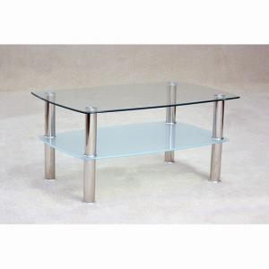 Pearl Clear Glass Coffee Table With Frosted Undershelf