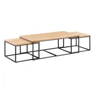Tojil Coffee Table And End Table Set In Oak With Metal Legs