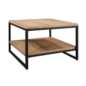 Tojil Square Coffee Table In Oak With Shelf And Metal Legs