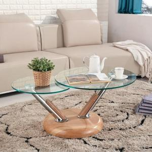 Tokyo Clear Glass Top Coffee Table In Beech