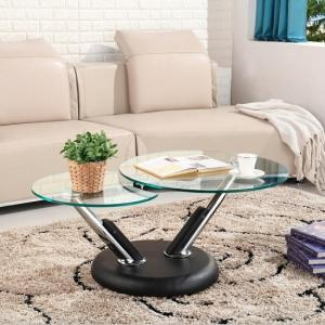 Tokyo Clear Glass Top Coffee Table In Black